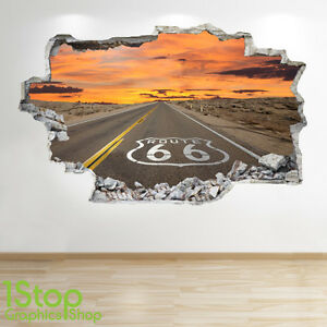 ROUTE-66-WALL-STICKER-3D-LOOK-BEDROOM-LOUNGE-NATURE-WALL-DECAL-Z10