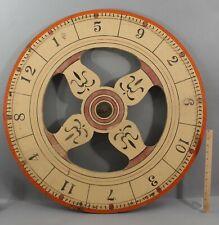 Large Antique Folk Art Painted Wood Gambling Carnival Game Wheel NR