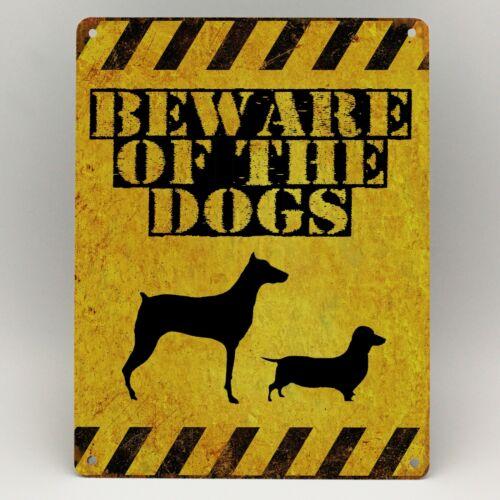 Méfiez-vous des chiens en Métal Signe D/'Avertissement KEEP OUT Porte Cadeau avertissement Drôle Nouveauté