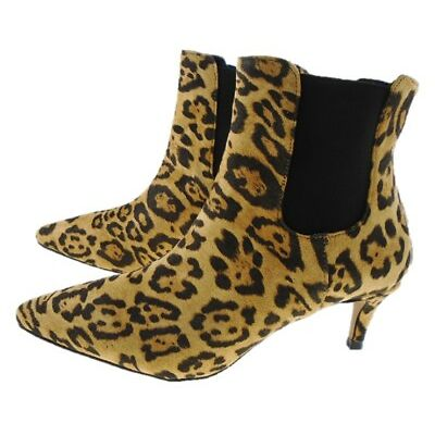 HIGH STREET Leopard Print Pointed Toe Kitten Heel Chelsea Ankle Boot  UK 3 to 8