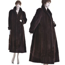 L-XL! New! Real Burgundy Sheared Mink Fur Directional Full-Length Swing Coat