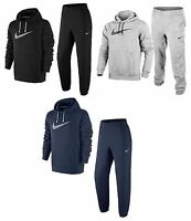 Mens Fleece Black Grey Overhead Nike Full Tracksuit Hooded Joggers S - Xl
