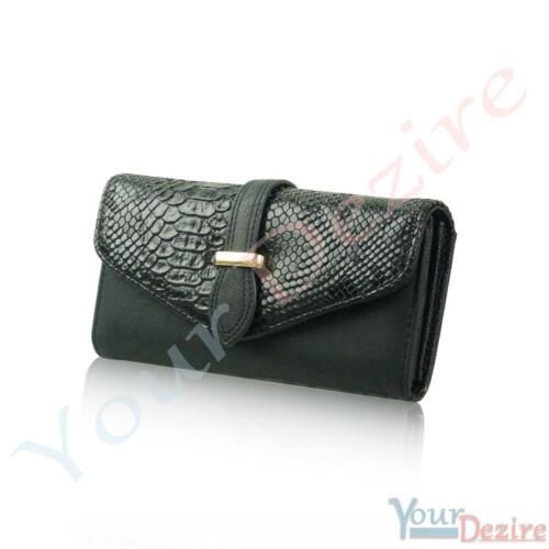 Ladies Faux Leather Designer Bifold Long Coin Purse Womens Wallet Card Holder