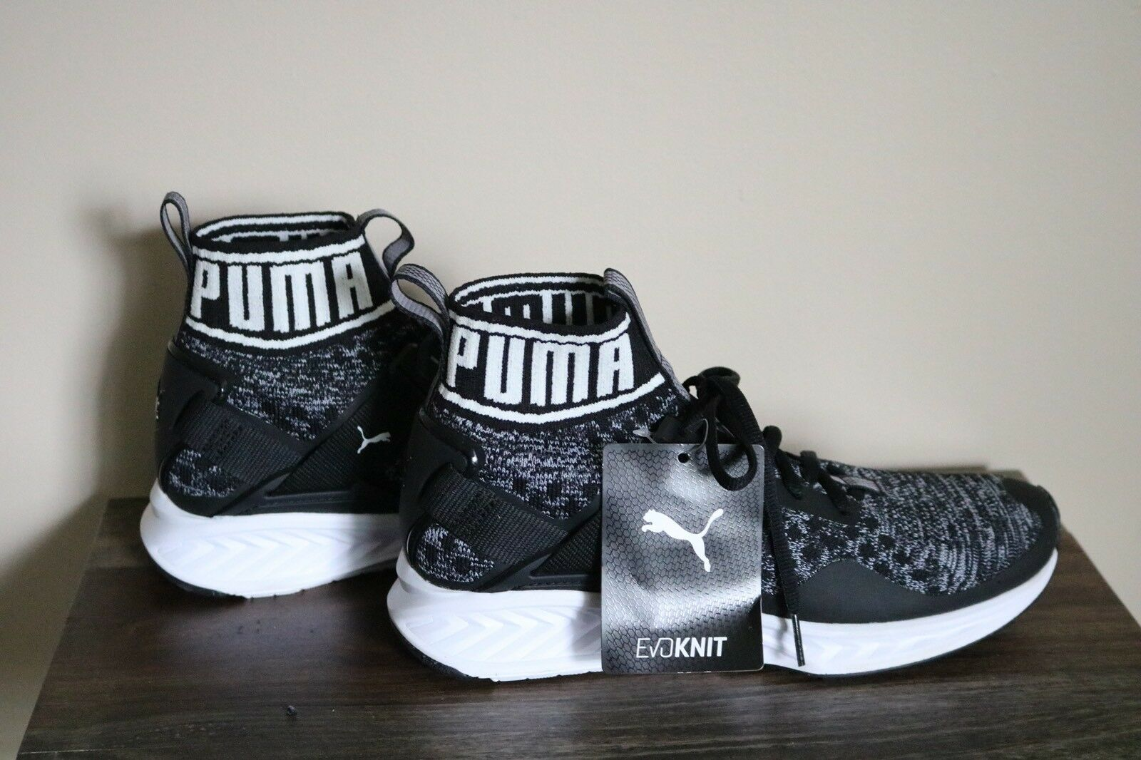 Nuevo Para Hombres Puma IGNITE Evoknit-Negro blancoO Gry Entrenamiento Calzado Sin Caja Talla 8