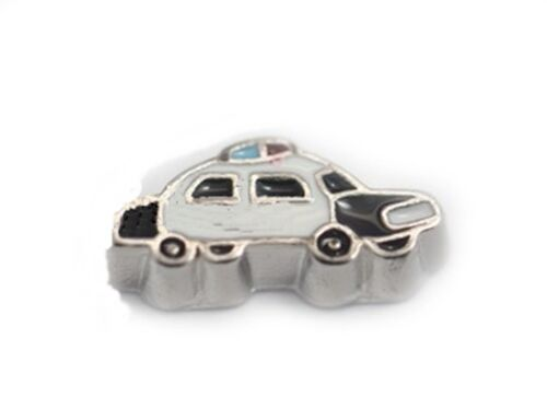 Classic Black /& White Police Car Silver 10mm Floating Charm for Memory Lockets