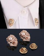 2pcs Metal Gold Lion Head Men Women Suit Shirt Corner Collar Brooch Pin Buckle