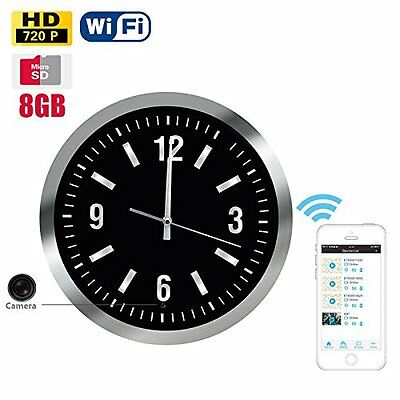 Wall Clock WiFi IP Hidden Spy Camera 13.5inch Clock Motion Activated DVR 8GB HD