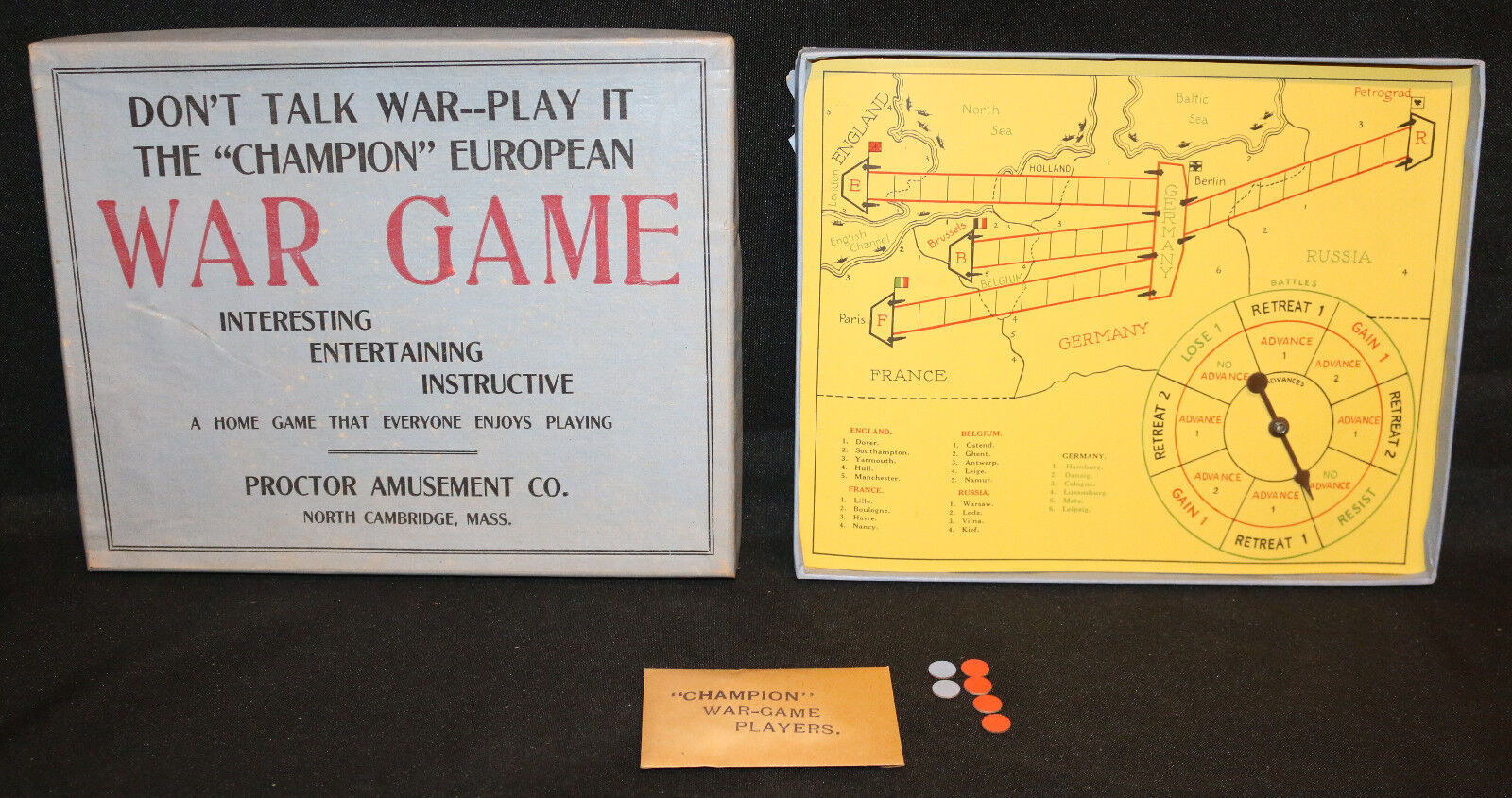 The Champion Rare European Vintage War Board Game - 1915