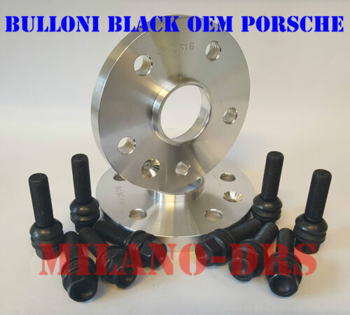 2 DISTANZIALI RUOTA 16mm PORSCHE CAYENNE Bullone SFERICO BLACK EOM