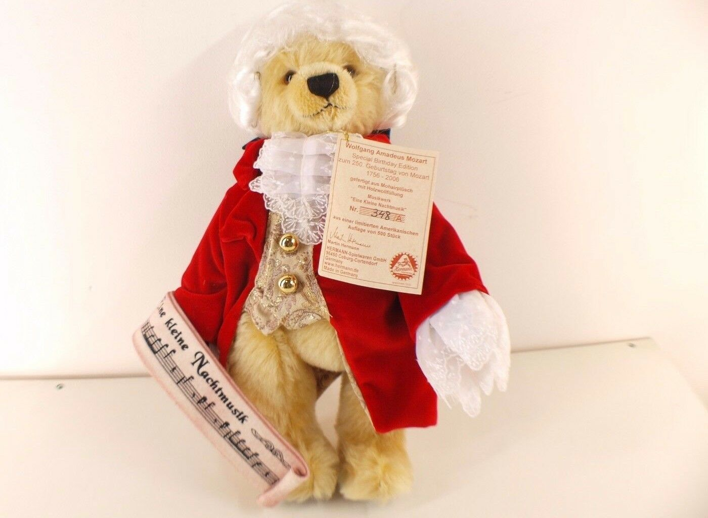Hermann ours Bear Wolfgang Mozart nounours peluche 38 cm neuf edition limited