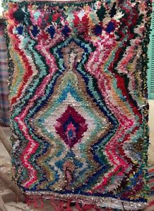 Image Is Loading Vintage Moroccan Boucherouite Rag Rug 177 X 134