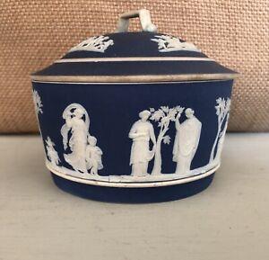 Wedgwood-Cobalt-Blue-Jasperware-Dish-W-Lid
