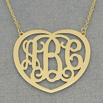 14k Solid Gold 3 Initial Heart Monogram