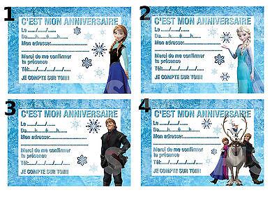 Carte Invitation Anniversaire Disney Reine Des Neiges Frozen Lot De 4 8 12 Ou 16 Ebay