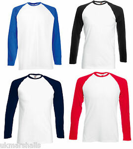 FRUIT-OF-THE-LOOM-CLASSIC-LONG-SLEEVE-CONTRAST-BASEBALL-T-SHIRT-TEE-SPORTS-61028
