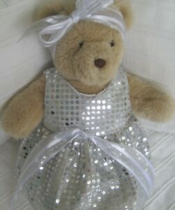 Teddy-Bear-Clothes-Handmade-Tammy-Silver-Sequinesque-Dress-amp-Head-Ribbon