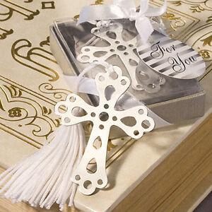 100 Cross Bookmark Favors Wedding Christening Communion Religious Baptismal