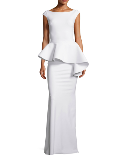 £841 NEW Chiara Boni La Petite Robe Etheline white peplum gown dress Sz L /UK 16