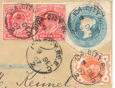 2471 1907 QV 2 D blue CUT-OUT from registered letter together w EVII stamps Rcvr