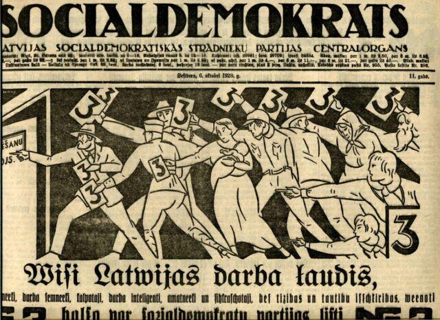 1928 Avant-Garde Latvian Proletarian Art Newspaper Social Democrat Latvia