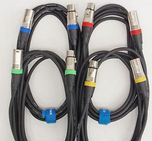 1-5m-3m-Mikrofon-Kabel-DMX-Kabel-OFC-4-Stueck-je-1-5-und-3m-lang-Kabelklett