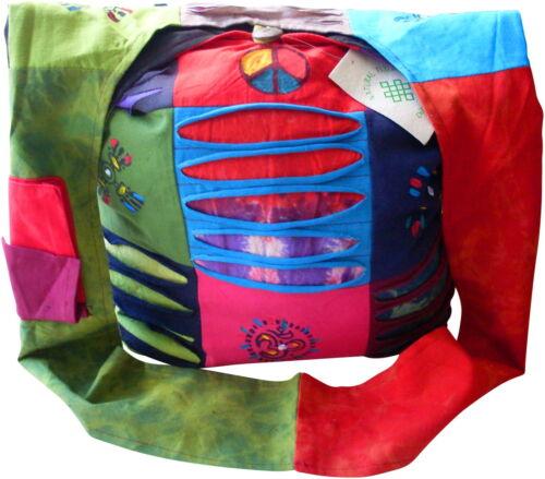 FAIR TRADE COTTON PATCHWORK PAINTED /& RAZOR CUT HIPPY BOHO FESTIVAL SHOULDER BAG
