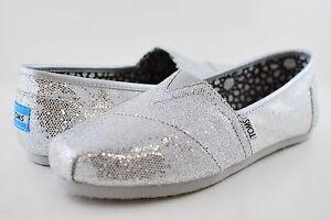 d4c8b4ec8e3 Image is loading New-Authentic-Women-Silver-Glitter-Toms-Shoes