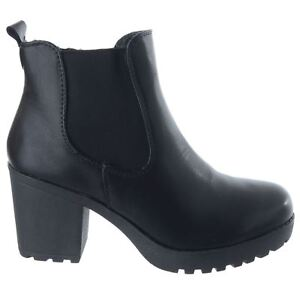 Ladies Womens Platform Block High Heel Zip Chelsea Ankle Boots Office Shoes Size