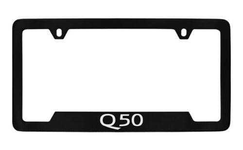Infiniti Q50 Black Coated Engraved Brass Metal License Plate Frame Holder Tag