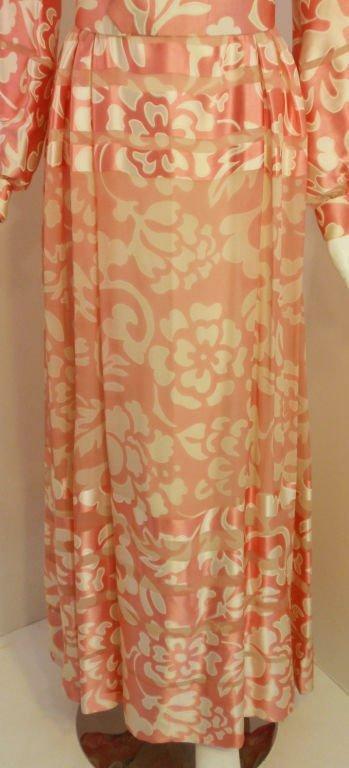 CEIL CHAPMAN 1960s Pink and White Silk Chiffon Go… - image 9