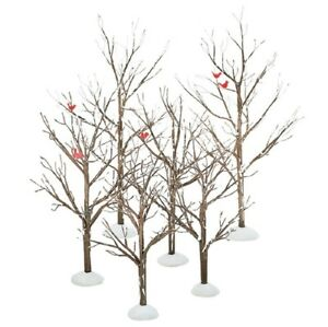 Department-56-Village-Accessories-034-BARE-BRANCH-TREES-WITH-RED-BIRDS-034-Set-of-6