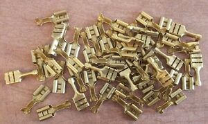 50x-Brass-Spade-Electrical-Connectors-16-18SWG-15-30A-Lucar-Faston-VW-Porsche-MG