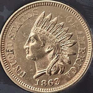1863-INDIAN-HEAD-PENNY-4-DIAMONDS-NICE-COIN-Cleaned