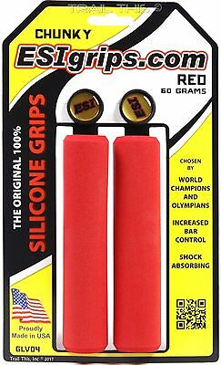 ESI CHUNKY SILICONE 32MM RED MTB BICYCLE GRIPS