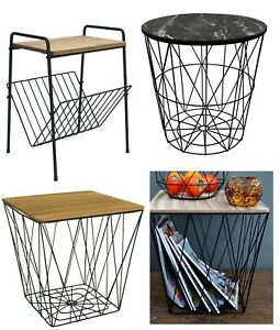 Retro-Side-Table-Metal-Wire-Wood-Marble-Effect-Top-Storage-Basket-Home-Furniture