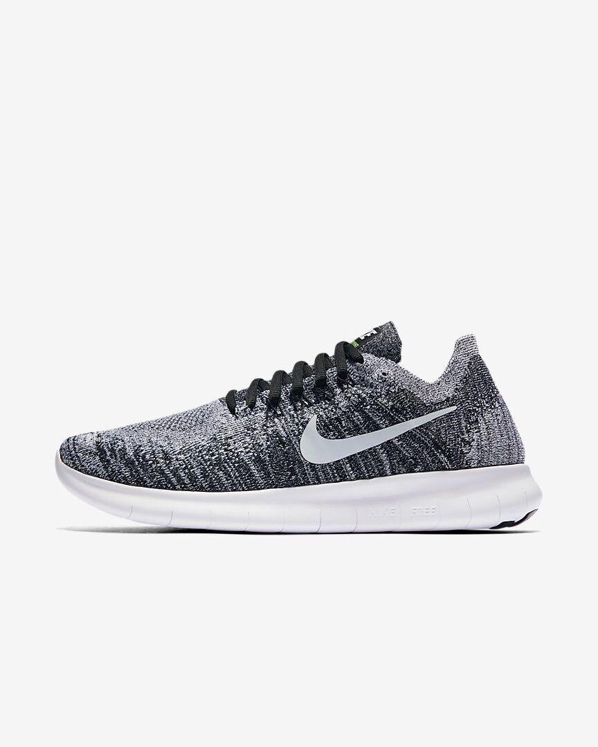 Nike Free RN Flyknit 2017 Black White Volt Uk Size 8.5 Eur 43 880844-003