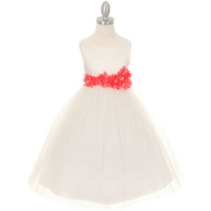 f1e105dad7ed Image is loading IVORY-CORAL-Flower-Girl-Dress-Wedding-Pageant-Bridesmaid-