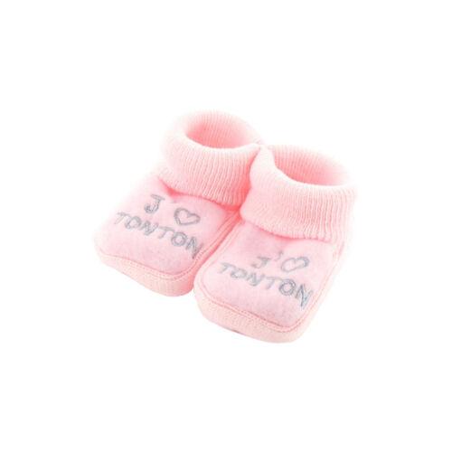 Chaussons bébé rose J/'aime tonton cadeau naissance annonce grossesse NISSANOU