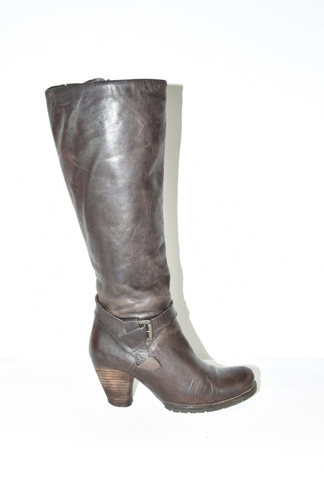Brown Leather TEN POINTS Knee High Pixie Mid Heel Riding Women's Boots Size 4 37