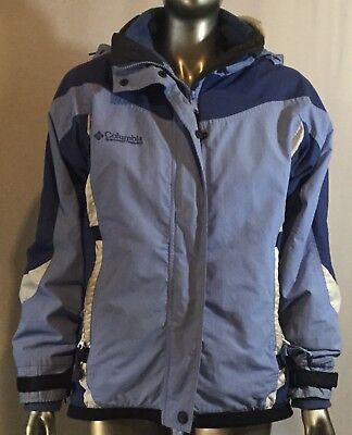 Dettagli su Columbia Donna Basic Cappotto, Taglia S, Blu Zip Scatto Anteriore con Cappuccio