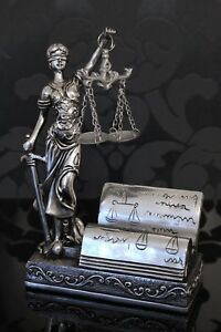 Details Zu Justitia Figur Silber Visitenkartenhalter 19cm Deko Göttin Recht Anwalt Notar