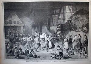 Mecklenburg-Brauchtum-Erntefest-Wirtshaus-Tenne-Volkstrachten-1882