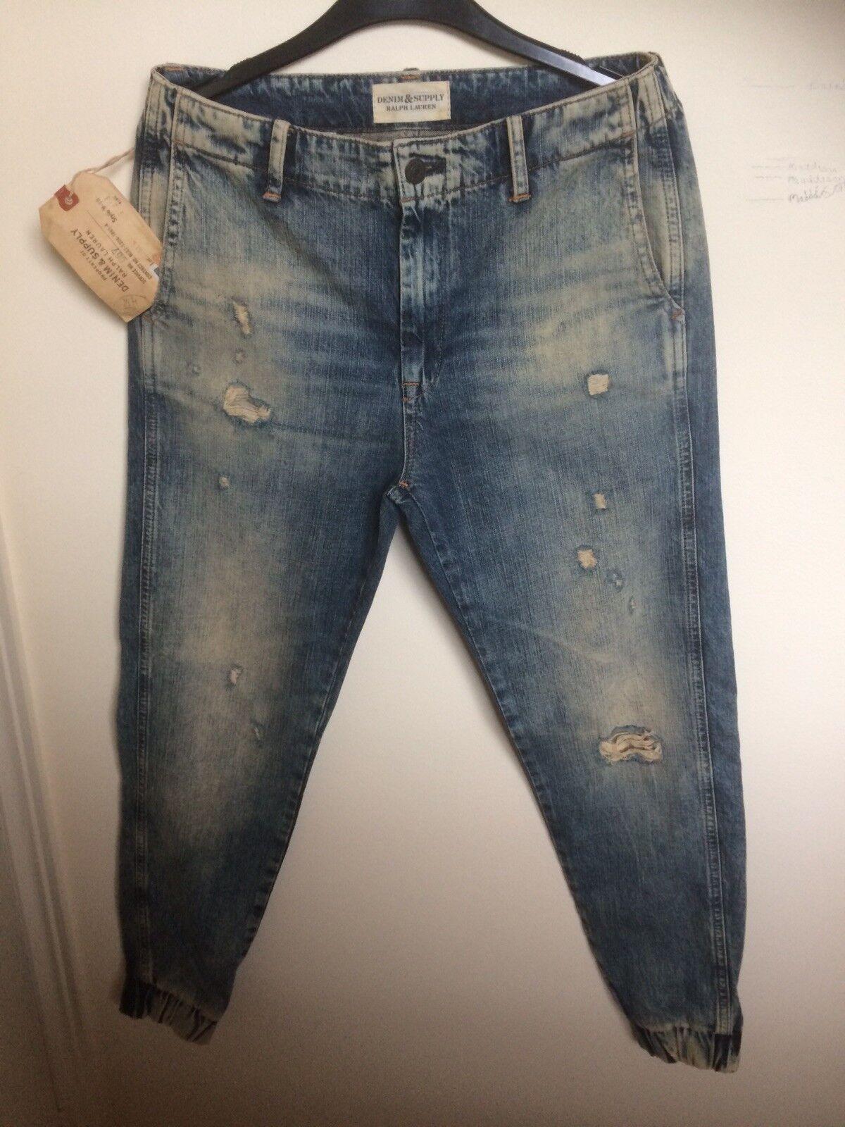 Ralph Lauren Denim & Supply, bluee Jeans, Distressed, Womens Size 24 UK
