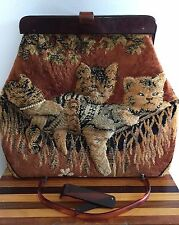 Vtg Tapestry Carpet Bag Handbag Lucite Handle Cats/Kittens for Display/Repair