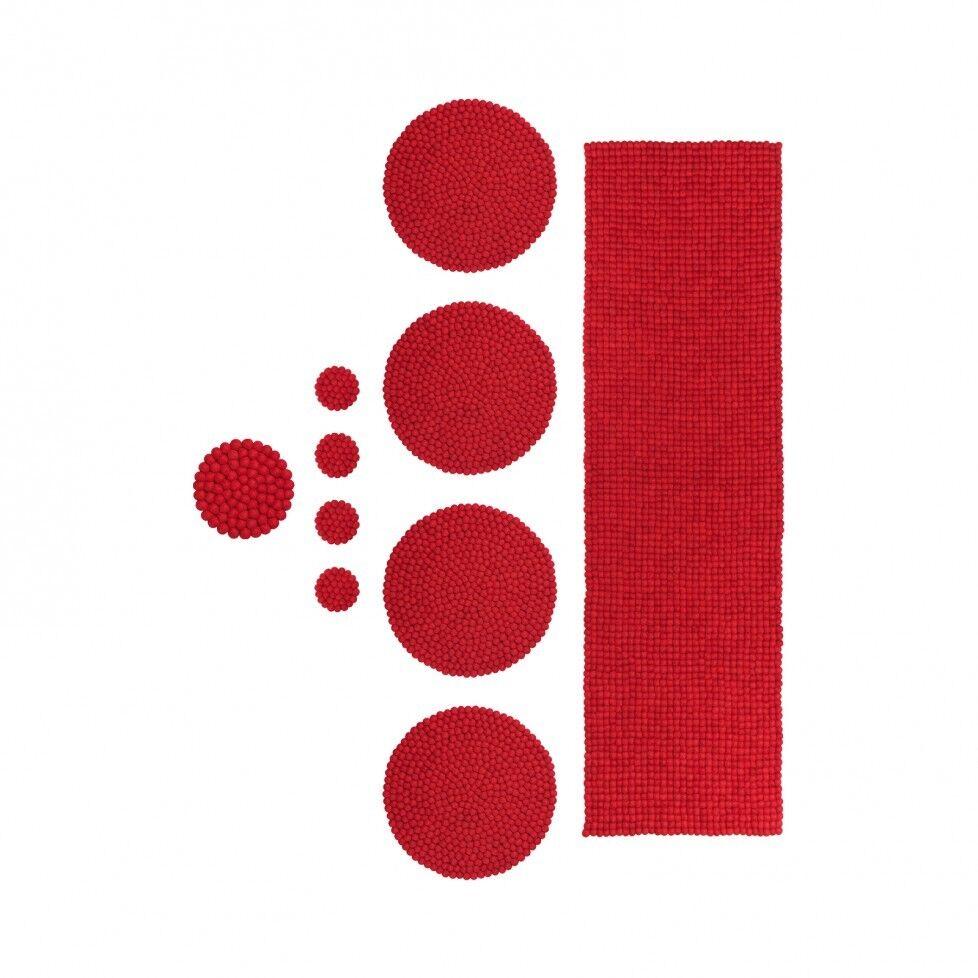 Lot de 10 pcs Rouge Pom Pom Pure Laine Feutre boules place mat pour table de salle à manger