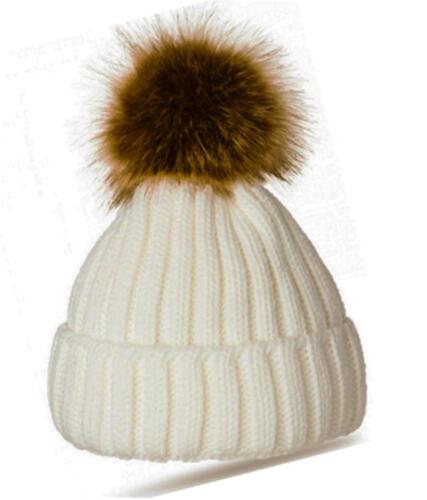 H73 nouveau femmes chaud fourrure boule tricot ski bonnet à pompon chapeau