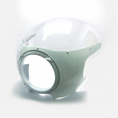 WHITE Headlight Fairing Cowl & Screen for Ducati Classic Cafe Racer Project Bike