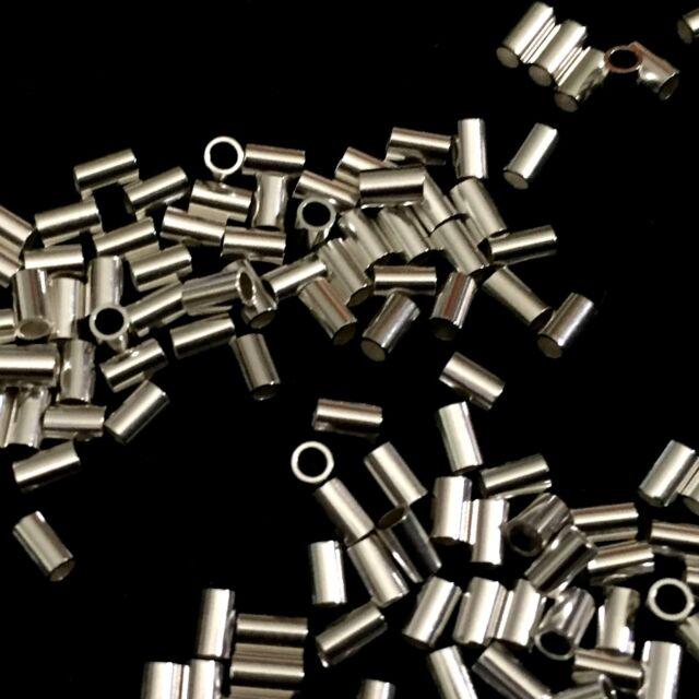 Tubing Crimps Beading Crimps Sterling Silver 3x3mm Crimp Beads 50 Piece