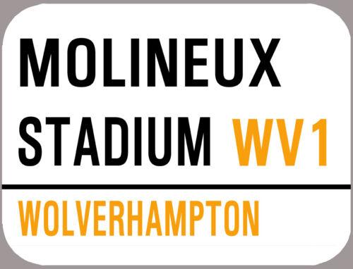 MOLINEUX STADIUM WOLVES METAL STREET SIGN FRIDGE MAGNET CREDIT CARD SIZE.