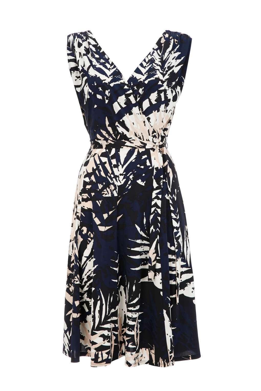 Wallis Navy Palm Print Easy Wrap Dress 14